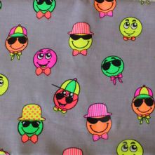 100% Cotton Happy Face Print on Grey Fabric x 0.5m